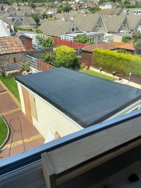 Weston garage flat roof after